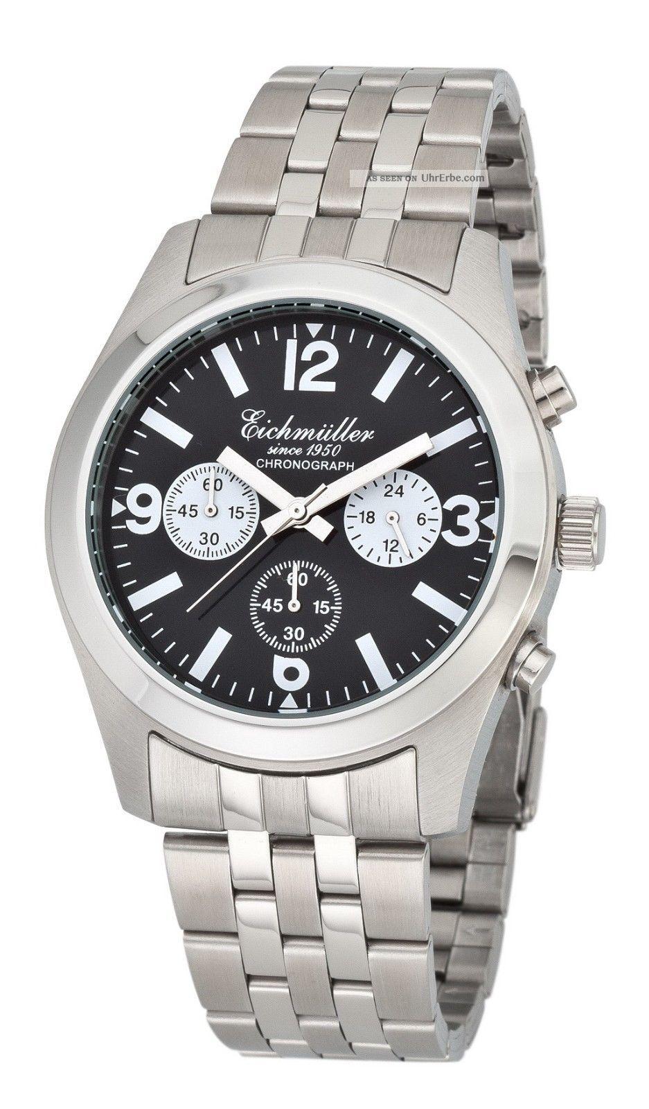 EichmÜller Edelstahl Chronograph Herrenuhr Seiko Vd 54 Armbanduhr &ovp Armbanduhren Bild