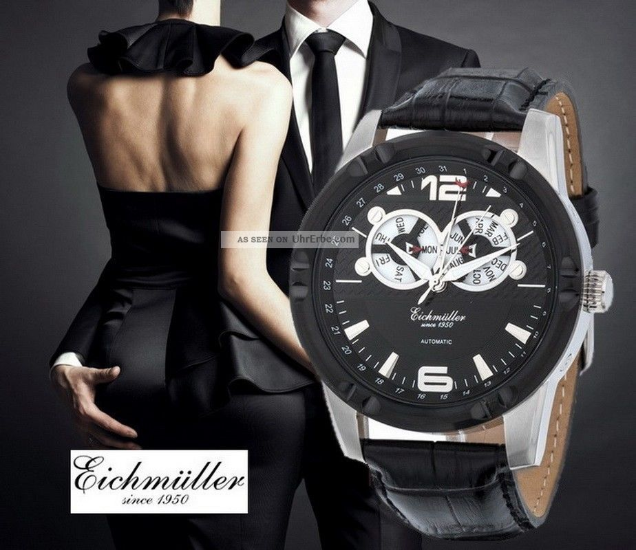 Moderne EichmÜller Automatikuhr 7858 Herrenuhr Business Uhr Edelstahl Ip - Black Armbanduhren Bild