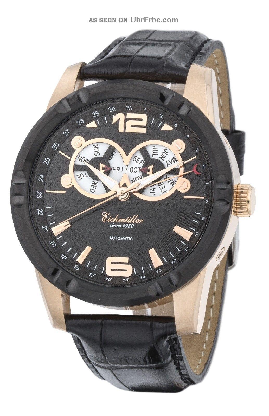 Moderne EichmÜller Automatikuhr 7859 Herrenuhr Business Uhr Edelstahl Ip - Rosé Armbanduhren Bild