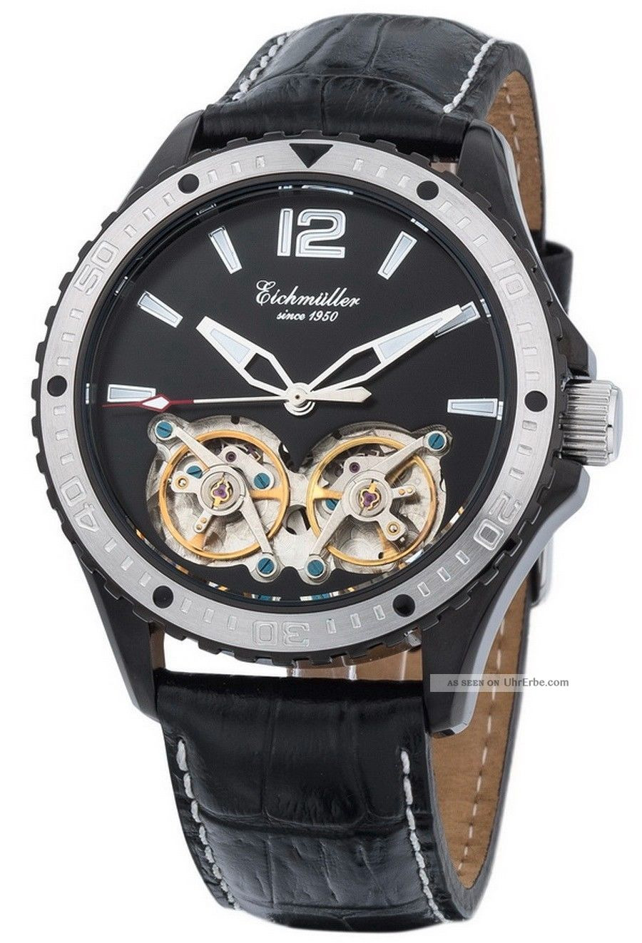 Elegante EichmÜller Automatikuhr 7860 Herrenuhr Business Uhr 2 X Unruh Ip Black Armbanduhren Bild
