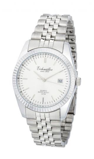 Silberne EichmÜller Uhr Herrenuhr Damenuhr Stahl Quarzuhr Klassiker Datum Bild