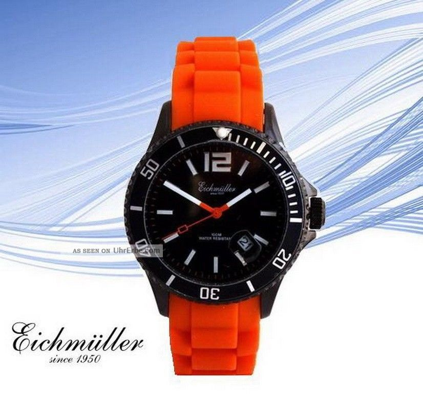 Beliebte EichmÜller Uhr 10 Atm Lifestyle Design Armbanduhr Herrenuhr Orange Armbanduhren Bild