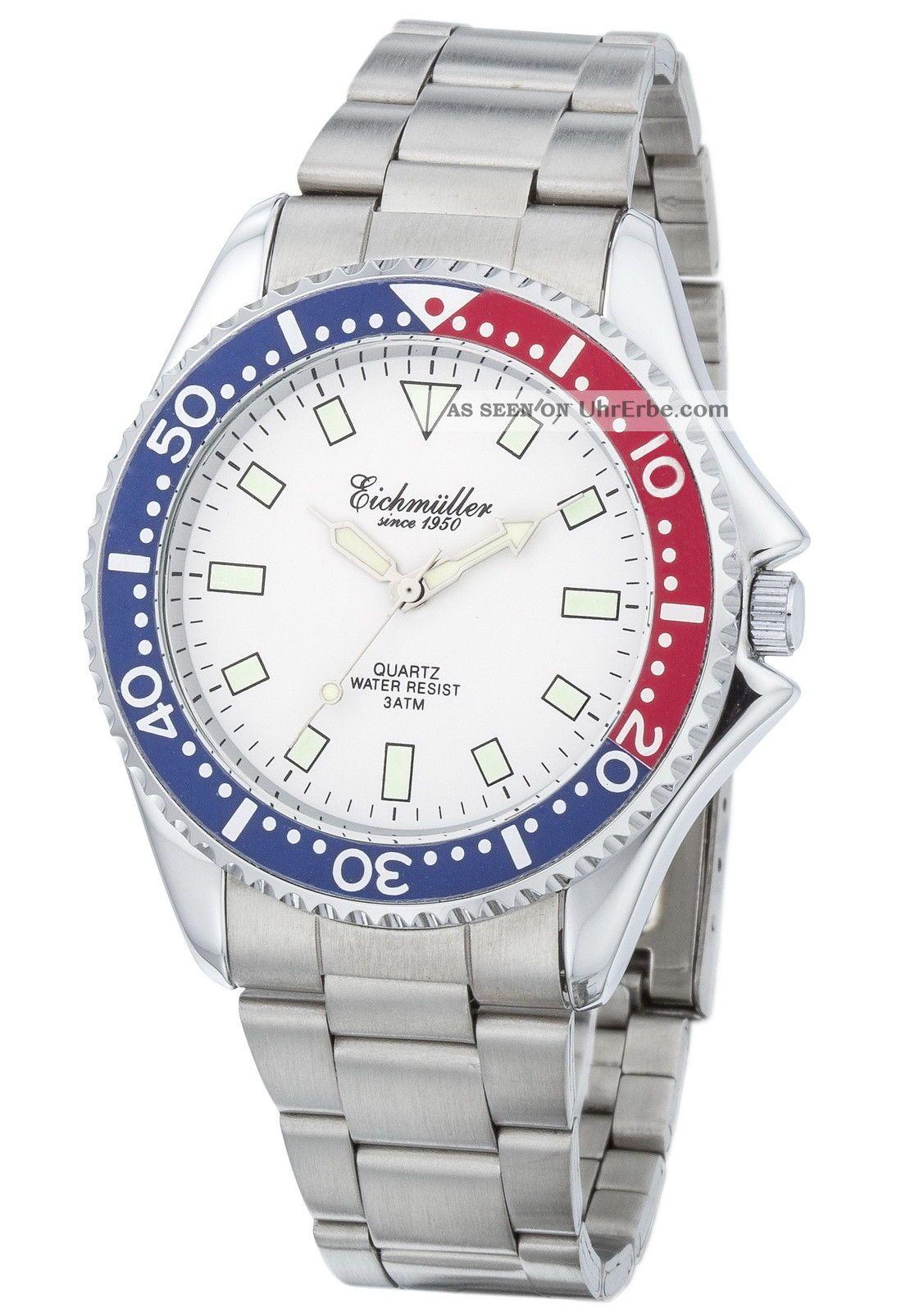 Schöne EichmÜller 40 Mm Edelstahl Uhr Herrenuhr Quarzuhr 3 Atm (30 M) Box Armbanduhren Bild