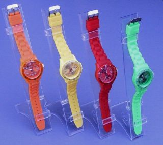 Silikon Uhr F.  Frauen,  Kinder Mit Datum U.  Drehbarer Lünette,  Gummi Uhr 4farben Bild
