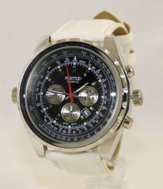 Animoo Retro Leder Armbanduhr Quartz Herrenuhr Mit Datum Farbe Weiß Schwarz Bild