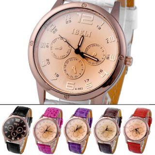 Herren Analog Multifunktion Pu Leder Herrenuhr Armbanduhr Bild