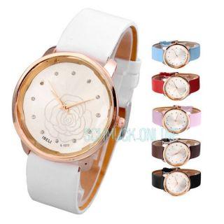 Damen Lässig Armbanduhr Kamelie Blume Basel - Stil Quarzuhr Lederarmband Geschenk Bild