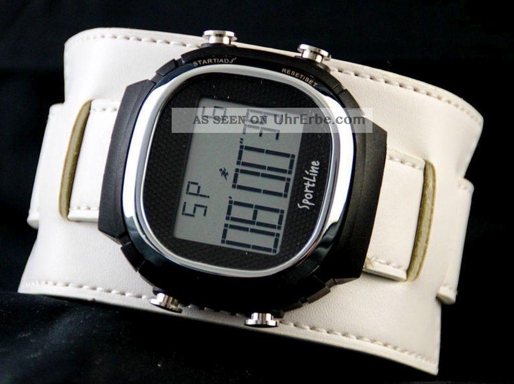 Sportline Xxl Digital Herrenuhr Mit Echtlederband Unterlegband Armbanduhren Bild