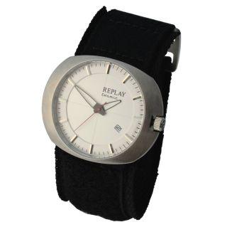 Replay Herren & Damen Quarz Armbanduhr Modell Cosmic Mit Klett - Stoffarmband 5atm Bild