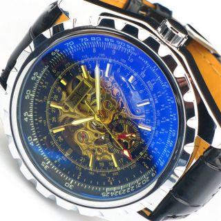 Jaragar Herrenuhr Mit Box,  Skelett Uhr,  Mechanisch Leder Armband Schwarz Bild
