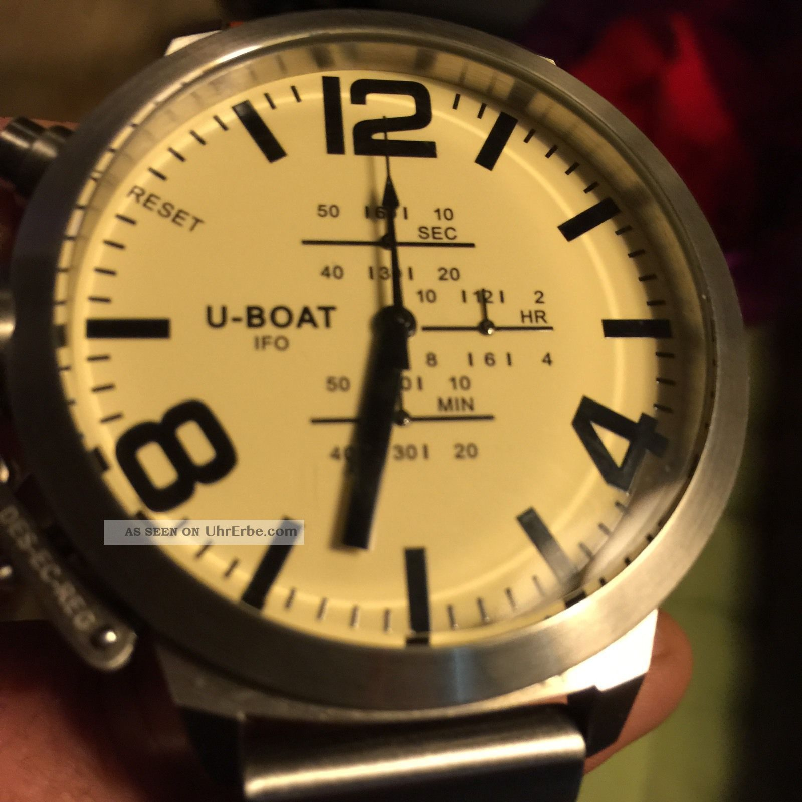 U - Boat Uboat A - 0153 Left Hook Beige Chrono Limited Edition 5000 53cm Chronograph Armbanduhren Bild