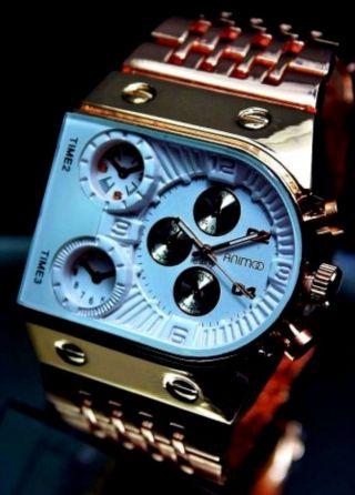 Animoo Analoge Armbanduhr Xxl Herrenuhr Rosègold / Weiß Schweres Model Bild