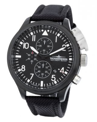 Thunderbirds Black Edition Chronograph 47mm Watch Herrenuhr Vd 57 Quarz Ovp Bild