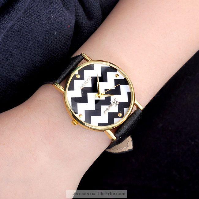 Uhr Modern pu leder wellig armbanduhr quarzuhr damen herren uhr modern armband