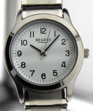 Armbanduhr Regent - Mineralglas - Mit Edelstahl Zugband - Versilbert Bild