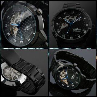 Exklusiv Winner Black Stahl Herrenuhr Edelstahl Armband Skelett Uhr Mechanisch Bild