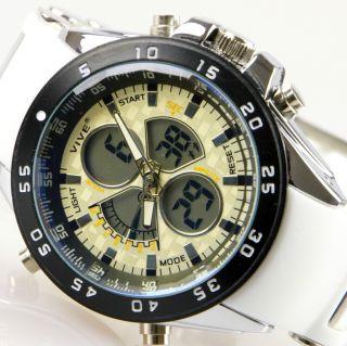 Herren Vive Armband Uhr Silikonband Weiß Watch Analog Digital Quarz 101 Bild
