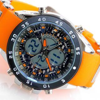 Herren Vive Armband Uhr Silikonband Orange Watch Analog Digital Quarz 103 Bild