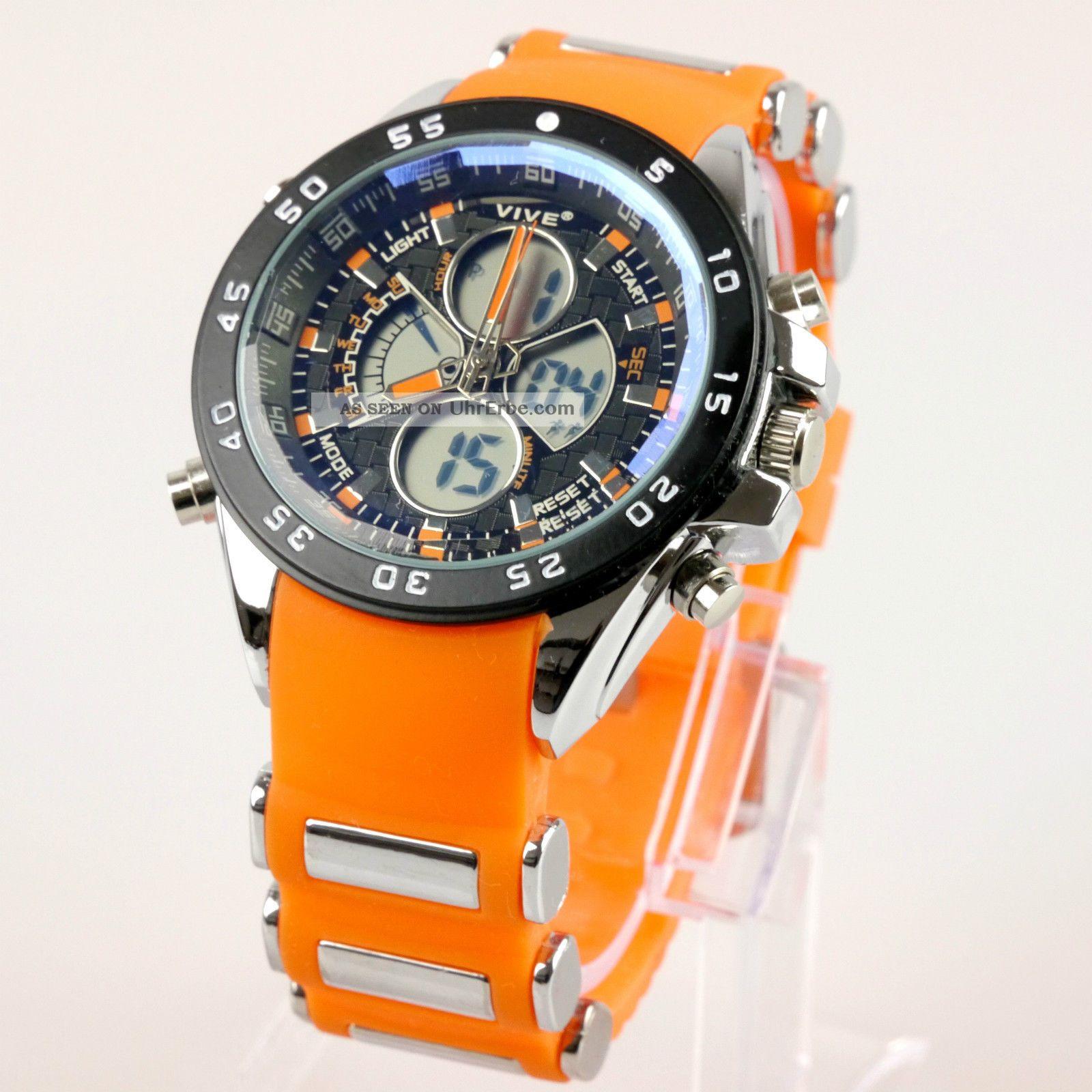 herren vive armband uhr silikonband orange watch analog. Black Bedroom Furniture Sets. Home Design Ideas