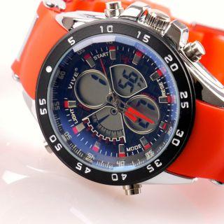 Herren Vive Armband Uhr Silikonband Rot Watch Analog Digital Quarz 105 Bild