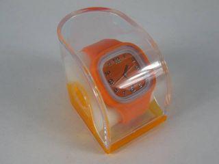 Silikonuhr Silikon Armbanduhr Round & Square Orange In Pvc Box Uhr Unisex Bild