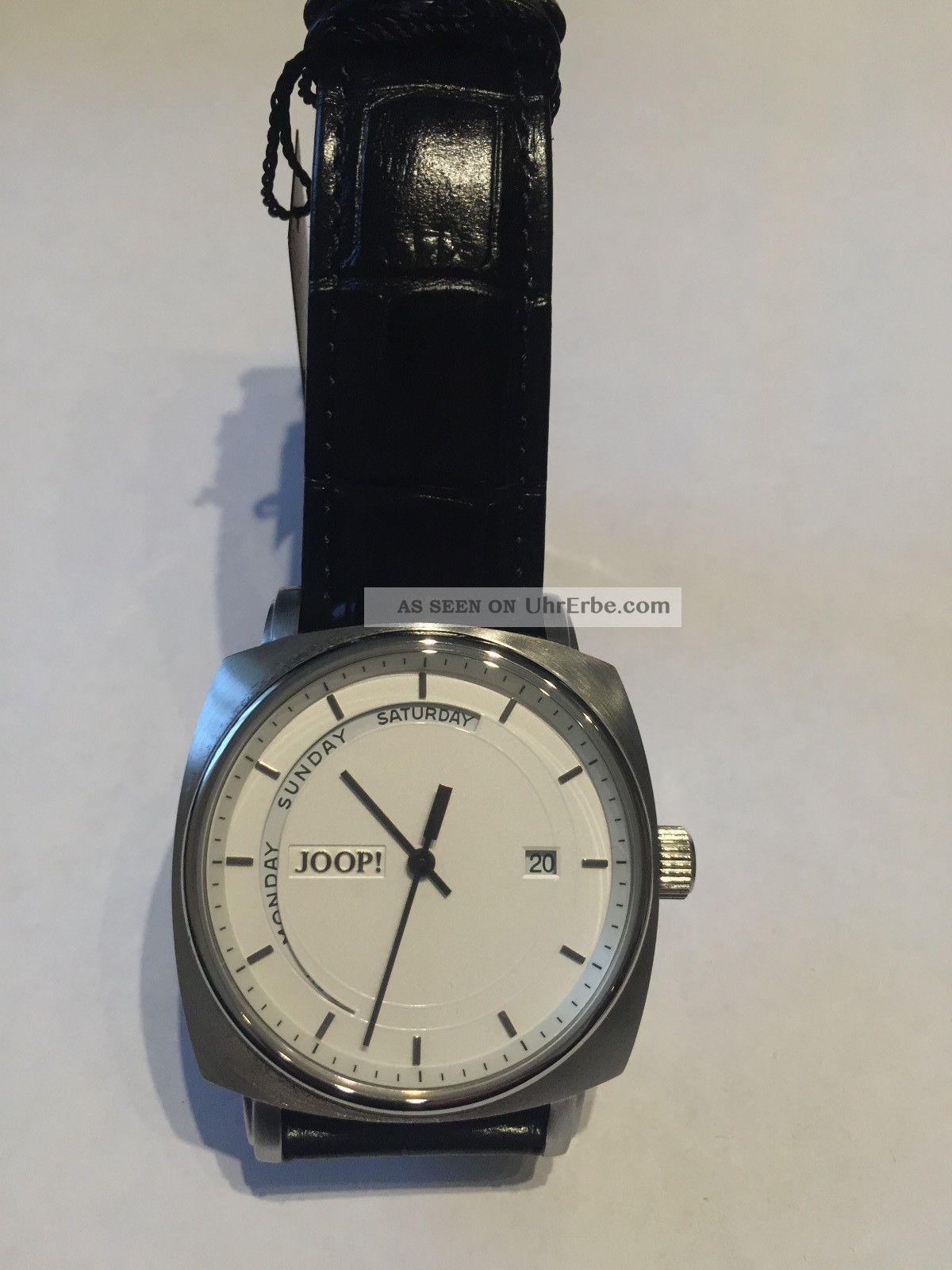 Joop Herrenuhr Edelstahl Lederband Schwarz Jp100521f02 Armbanduhren Bild