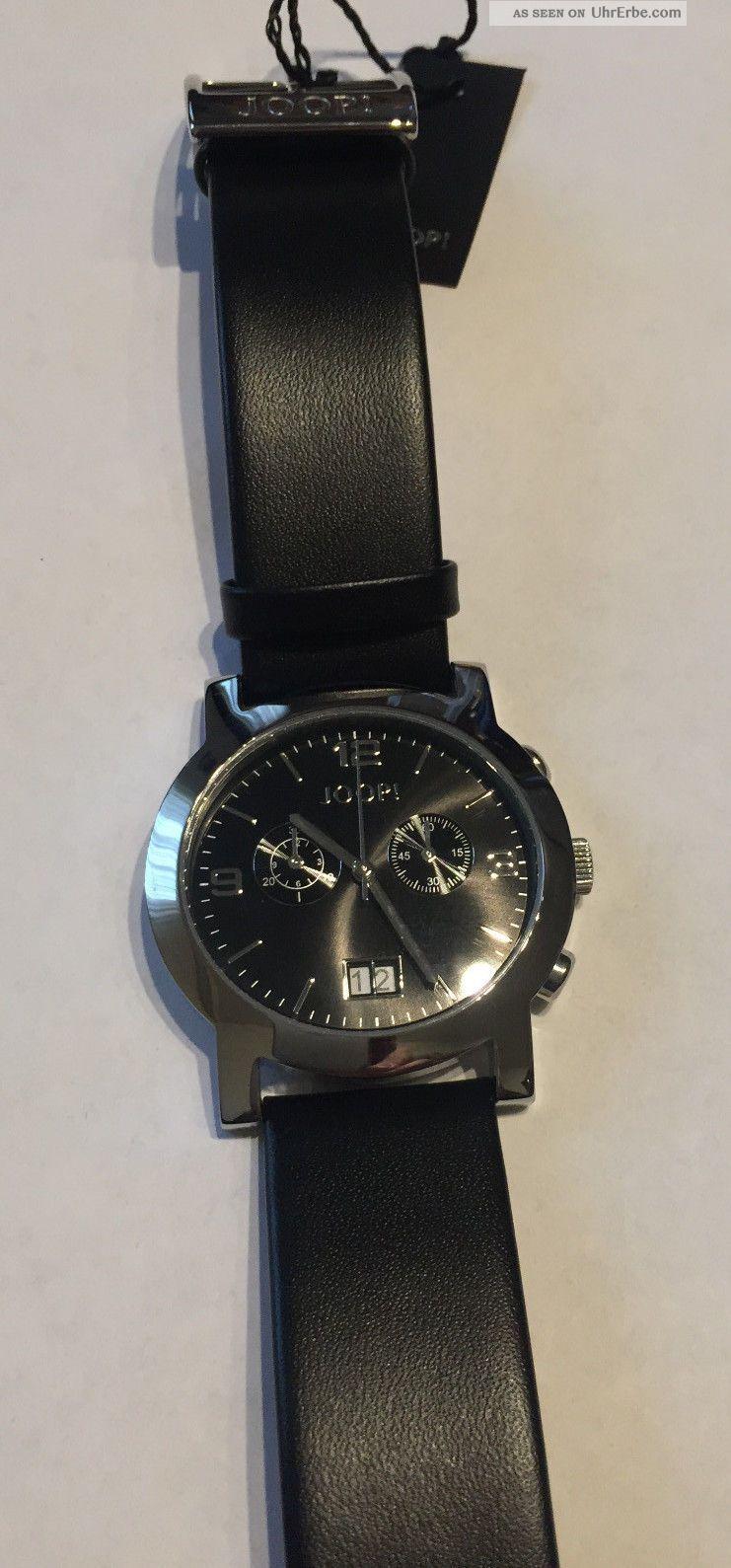 Joop Herrenuhr Edelstahl Lederband Schwarz Tm4391 Stoppuhr Armbanduhren Bild