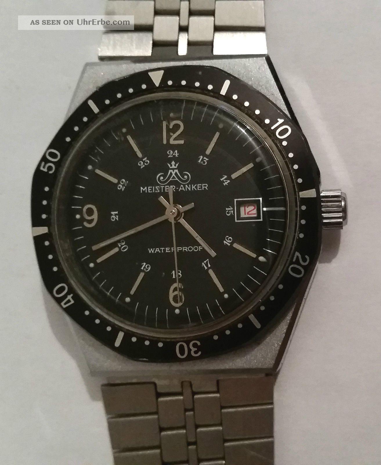 Meister Anker Ma Waterproff Armbanduhr Analog Handaufzug Edelstahl Geprüft Vwp Armbanduhren Bild