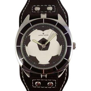 Alpha Saphir Jungen Uhr Armbanduhr Fußball Schwarz Weiß Unterlegband Leder 353d Bild
