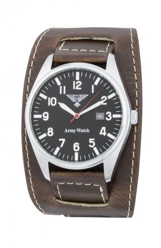 Schicke Eichmüller Army Watch German Air Force Xl 45mm Braunes Unterlegeband Bild