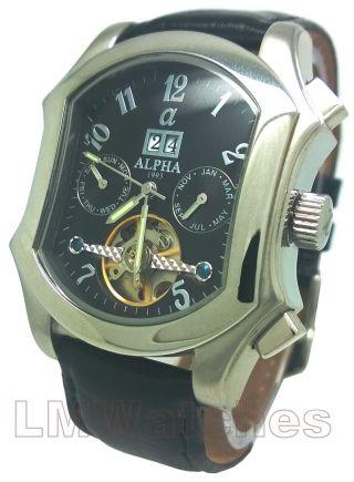 Alpha Automatische Uhr Tourbillon 23 Jewels Schwarz Quadrat Neue Uk Bild