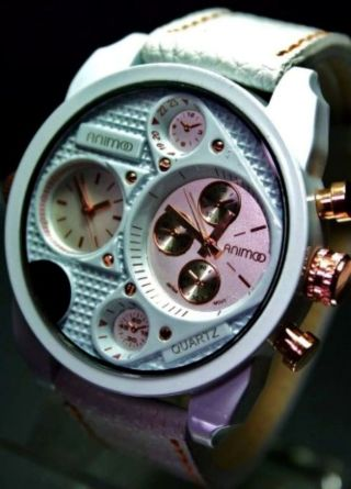 Animoo Xxl Armbanduhr In Weiß RosÈ Dual - Time Leder Herrenuhr Bild