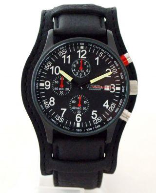 Astroavia 40 Mm Chronograph N 97 Bls Fliegeruhr Herrenuhr Leder Edelstahl Watch Bild