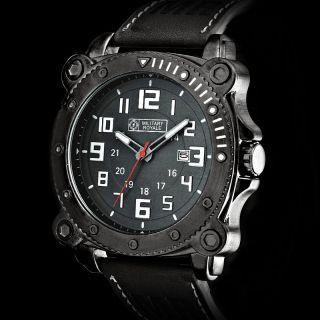 D Fliegeruhr Herrenuhr Leder Armband Quarz Uhr / Military Royale™ Mr081 Bild