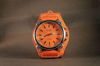 Armbanduhr Quarz Damenuhr Kunstleder Trend Watch Analoguhr Orange Weihnachten Bild