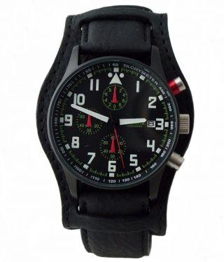 Astroavia 40 Mm Chronograph N 93 Bls Fliegeruhr Herrenuhr Leder Edelstahl Watch Bild