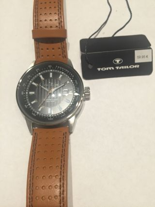 Tom Tailor Herrenuhr Nr.  5411502 Edelstahl Lederband Braun Bild