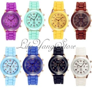 Bunt Silikon Armbanduhr Trend Uhr Damen Herren Sportuhr Quarz Uhren Watch Top Bild
