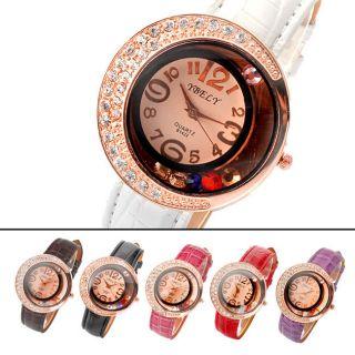 Luxu Strass Lunular Dameen Armbanduhr Mode Uhr Kunstlederarmband Kristall Perlen Bild