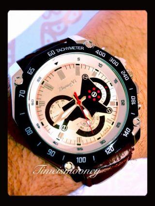 Herrenuhr Uhr Leder Geschenk Watch Sportuhr Herrenuhr Analog Quarz Armbanduhr Bild