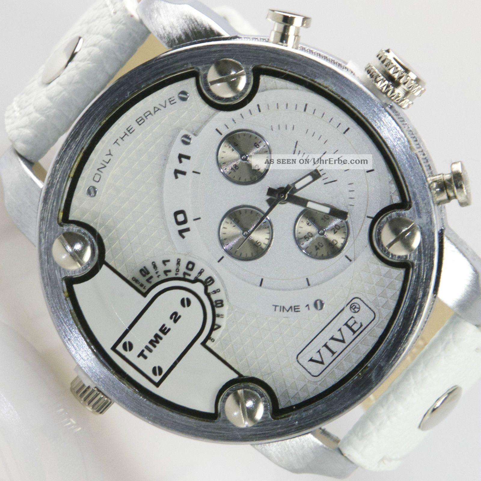 Entzückend Xxl Uhren Foto Von Herren Vive Armbanduhr Lederband Silber Weiß Watch