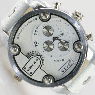 Herren Vive Xxl Armbanduhr Lederband Silber Weiß Watch Uhr 2 Uhrwerke Time2 Bild