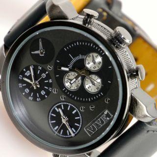 Herren Vive Xxl Armbanduhr Leder Edelstahl Black Schwarz Watch Uhr 3uhrwerke Bild