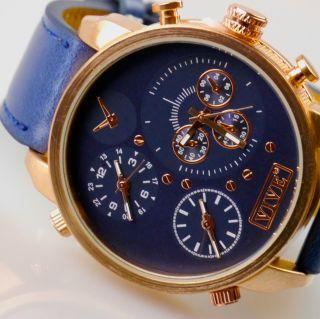 Herren Vive Xxl Armbanduhr Lederband Navyblau Kupfer Watch Uhr 3 Uhrwerke Bild