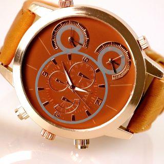 Herren Vive Xxl Armbanduhr Lederband Rose Kupfer Cognac Watch Uhr 3 Uhrwerke Bild