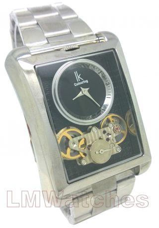 Ik Colouring Herren Armbanduhr Schwarz Selten Quadrat Zwei Uhrwerk Gb Bild