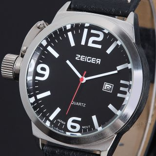 Zeiger Sportuhr Uhr Quarz Kristall Edelstahl Leder Armbanduhren Schwarz Herren Bild