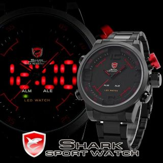 Shark 3d Xl Sportuhr Armbanduhr Herrenuhr Led Analog Digital Quarz Uhr Bild