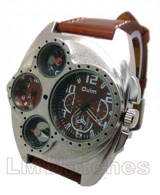 Neue Oulm Uhr Xl Russische Militär Stil Quadrat Doppelzeit Kompass Therm Braun Bild