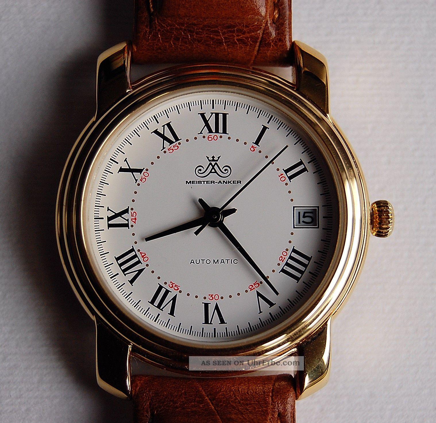 Meister - Anker Miyota 8205 Automatik Datum Analog 80er Hau Römische Ziffer Wi Armbanduhren Bild